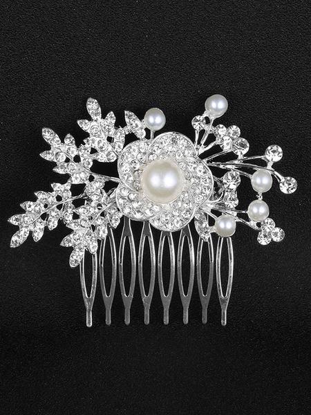 Milanoo Bridal Comb Headpieces Rhinestones Pearls Beaded Flowers Silver Wedding Hair Accessories
