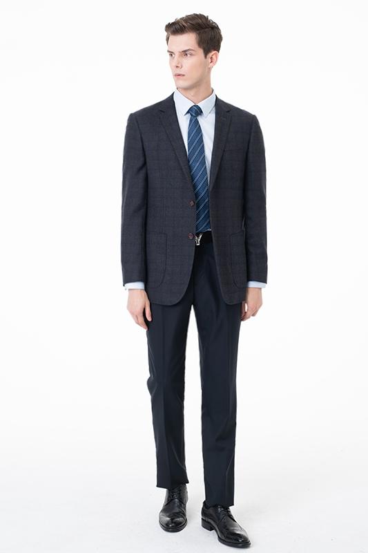 Slim Fit Peak solapa traje de dos piezas celosia trajes casuales