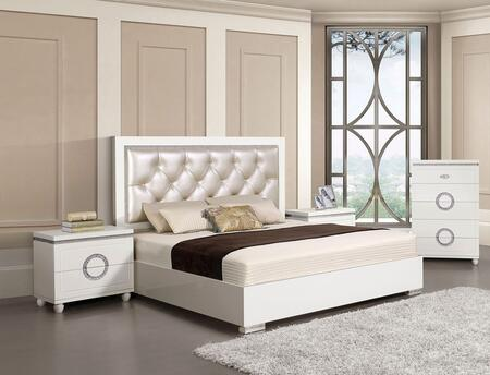 Vivaldi Collection 20240Q4SET 4 PC Bedroom Set with Queen Size Bed  Chest and 2 Nightstands in White High Gloss