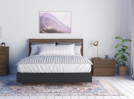 402607 Solari 3 Piece Queen Size Bedroom Set with Platform Bed + Headboard + Nightstand  in Walnut Laminate And Black