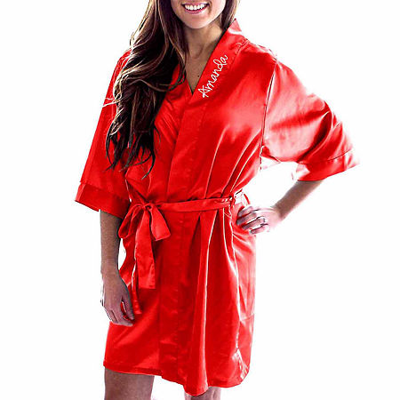 Cathy's Concepts Personalized Satin Womens Satin Kimono Robes 3/4 Sleeve Short Length, Small-medium , Red