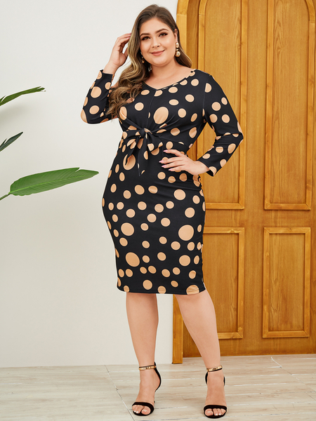YOINS Plus Size Black Tie-up Design Polka Dot Dress