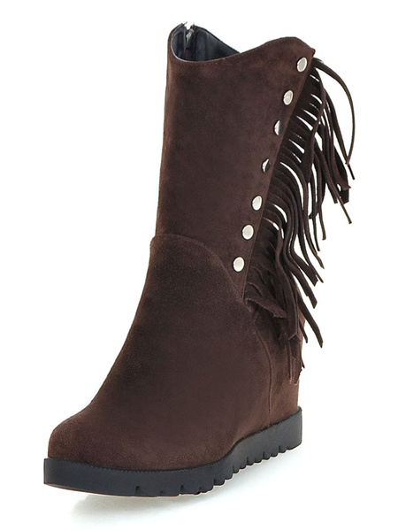 Milanoo Women Ankle Boots Micro Suede Wedge Heel 3.1 Booties With Fringe