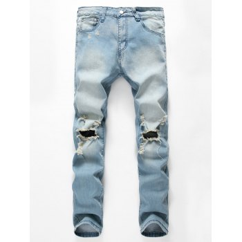 Cut Out Light Wash Distressed Jeans