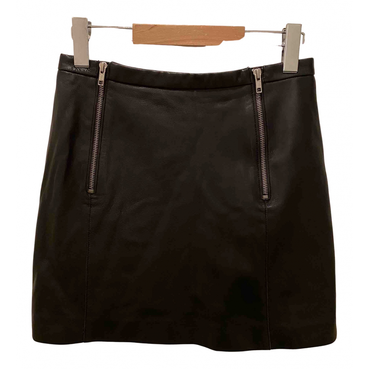 Maje N Black Leather skirt for Women 36 FR