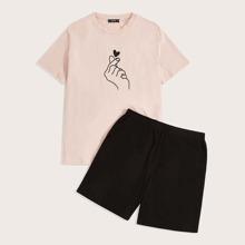 Maenner Top mit Hand Geste Muster & Shorts Schlafanzug Set