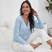 Fluffy Knit Button Up Cardigan