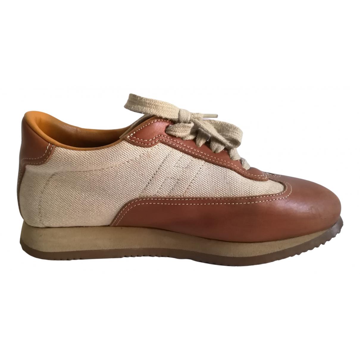 Hermes - Baskets Quicker pour femme en toile - beige