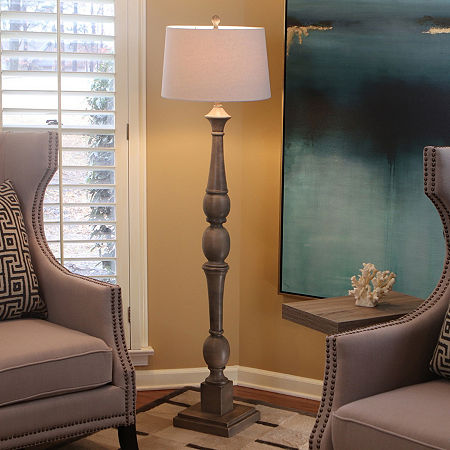 Decor Therapy Distressed Baluster Floor Lamp, One Size , Gray