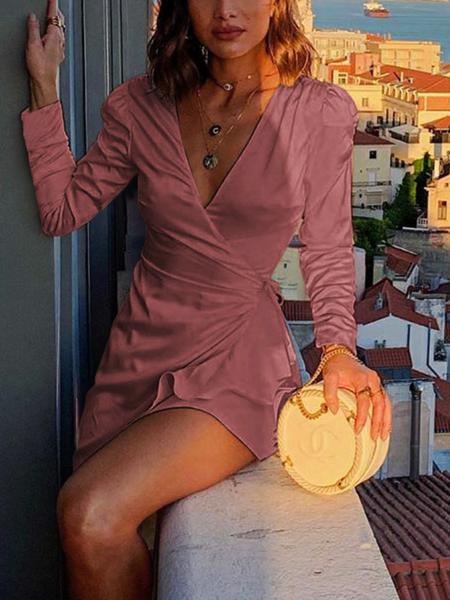 Yoins Wrap Design Ruffle Trim Deep V-neck Long Sleeves Dress