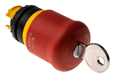 Eaton Panel Mount Round Head Emergency Button - Key Reset, 38mm, 22.5mm, Red