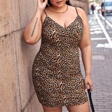Vestido de leopardo de cuello cruzado