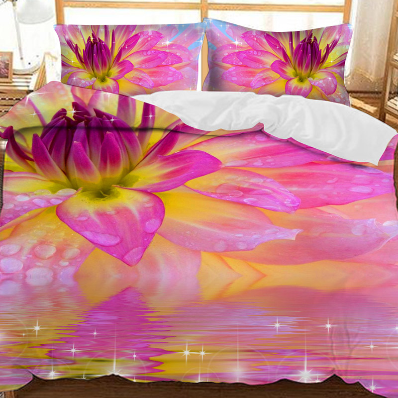 3D Purple Water Lily Printed Polyester 3-Piece Bedding Sets/Duvet Covers