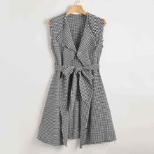 Ärmelloser Mantel mit Wassertropfen Kragen, umgesaeumtem Saum, Selbstband und Hahnentritt Muster