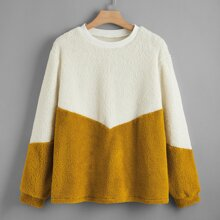 Plus Two Tone Teddy Sweatshirt