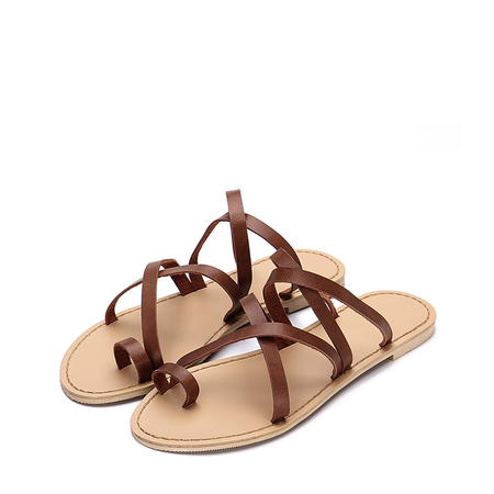 Yoins Brown Cross Straps Fashion Style Flat Slippers