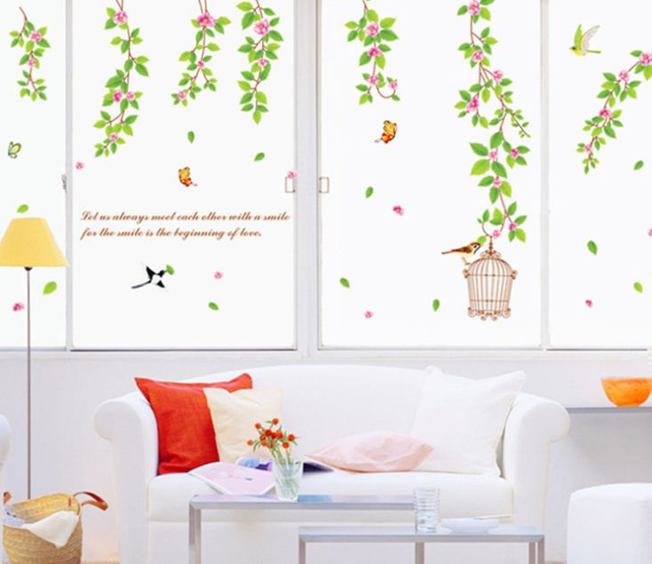 New Arrival Amazing Flowers and Green Leaves Wall Stickers