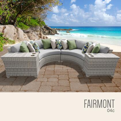FAIRMONT-04c-GREY Fairmont 4 Piece Outdoor Wicker Patio Furniture Set 04c with 2 Covers: Beige and