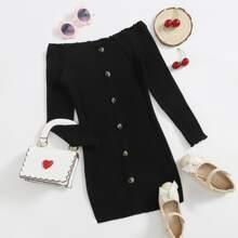 Schulterfreies Strick Kleid mit Knopfen