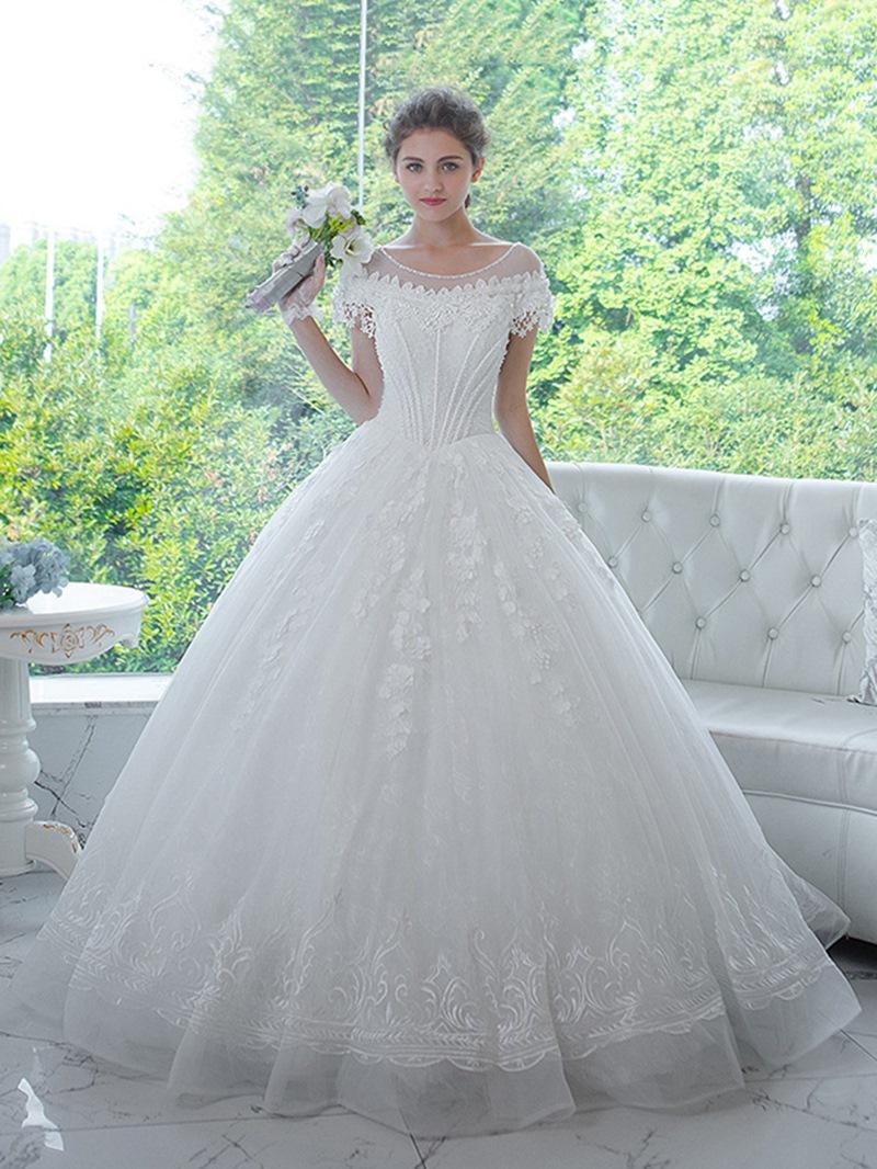 Ericdress Beaded Lace Short Sleeves Ball Gown Wedding Dress