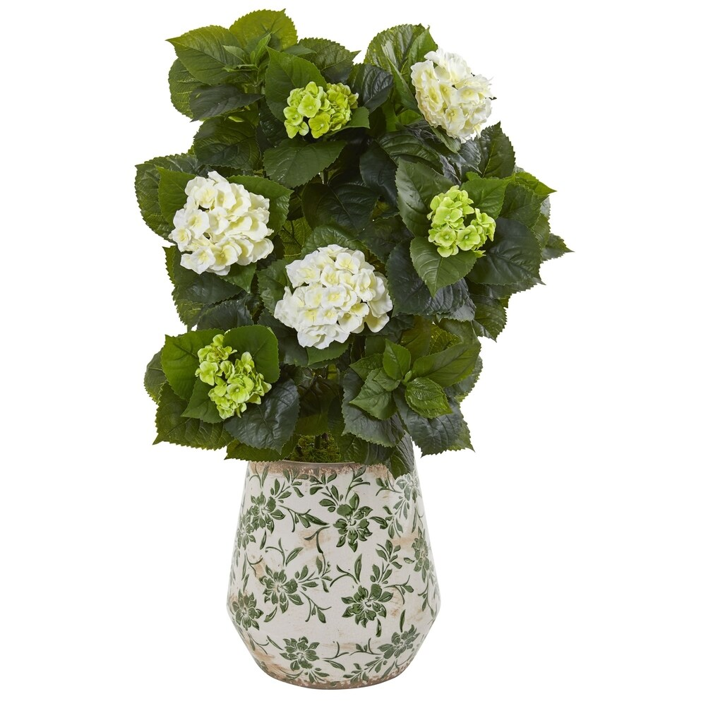 Nearly Natural Green and White 35-inch Artificial Hydrangea Plant in Ceramic Decorative Vase