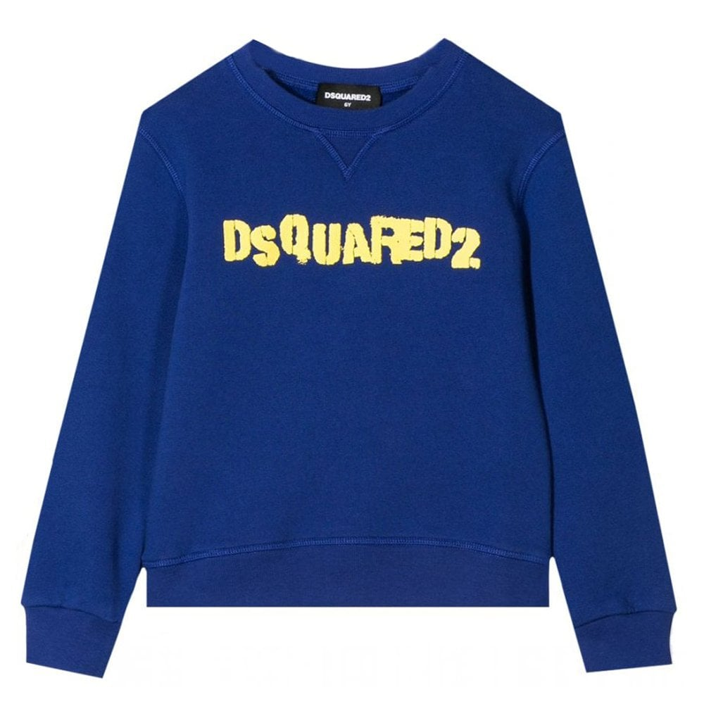 Dsquared2 Stamped Crewneck Sweatshirt Colour: BLUE, Size: 14 YEARS