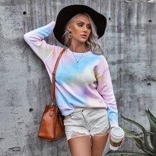 Einfarbiger Pullover mit Batik und sehr tief angesetzter Schuterpartie