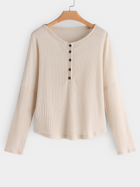 Yoins Apricot Button Design Plain Round Neck Long Sleeves Knitted T-shirts