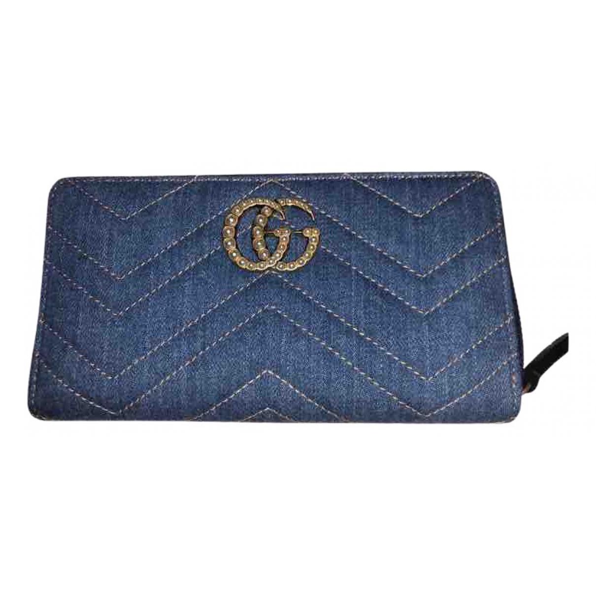 Gucci - Portefeuille Marmont pour femme en denim - bleu