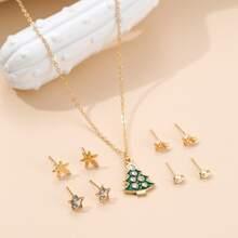 Halskette & 4 Paare Ohrringe mit Weihnachtsbaum Dekor