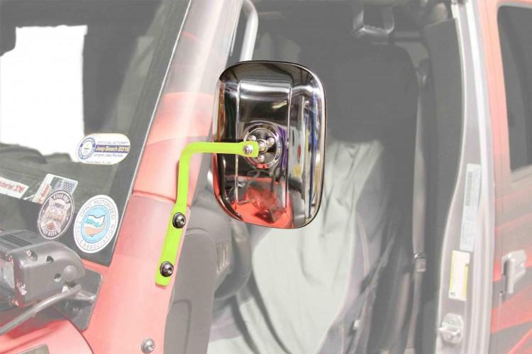 Steinjager J0046734 Mirror Wrangler JK 2007-2018 A Pillar Mounted Gecko Green