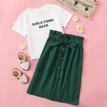 Girls Slogan Graphic Top & Paperbag Waist Buttoned Front Skirt Set