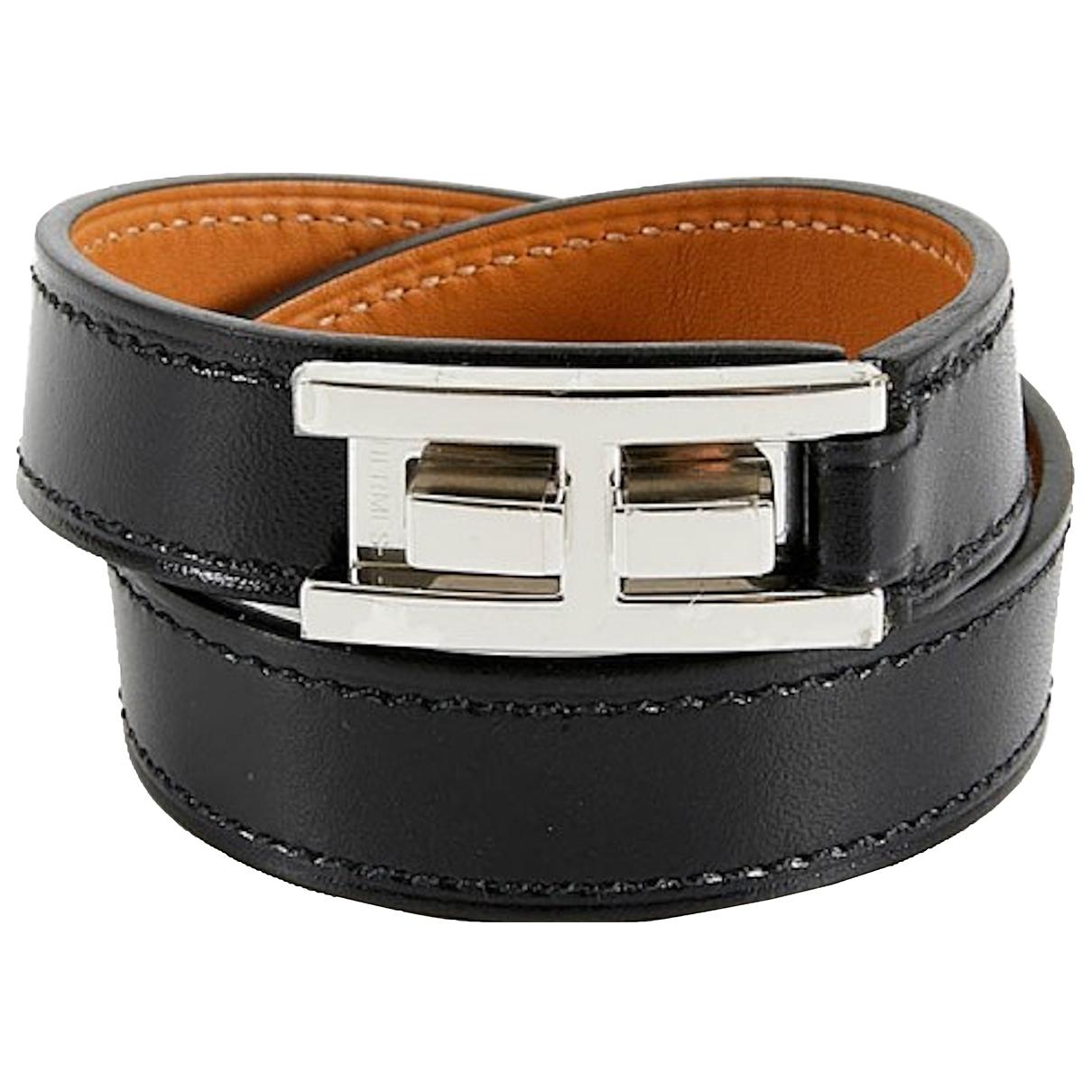 Hermes Drag Double Tour Armband in  Schwarz Leder