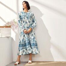 Kleid mit Schluesselloch, Halsband, Blumen Muster und Raffungsaum
