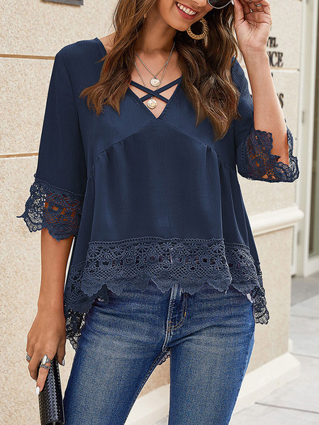 Milanoo Blouse For Women Yellow Lace V-Neck Casual Half Sleeves Criss Cross Polyester Tops