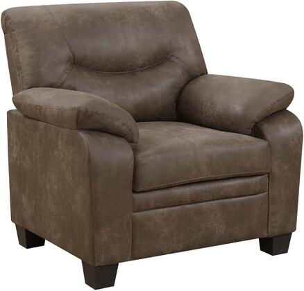 Meagan Collection 506563 40 Chair with Gliding Fabric Upholstery  Pillow Top Armrests  Block Feet  Padded Seat and Back in