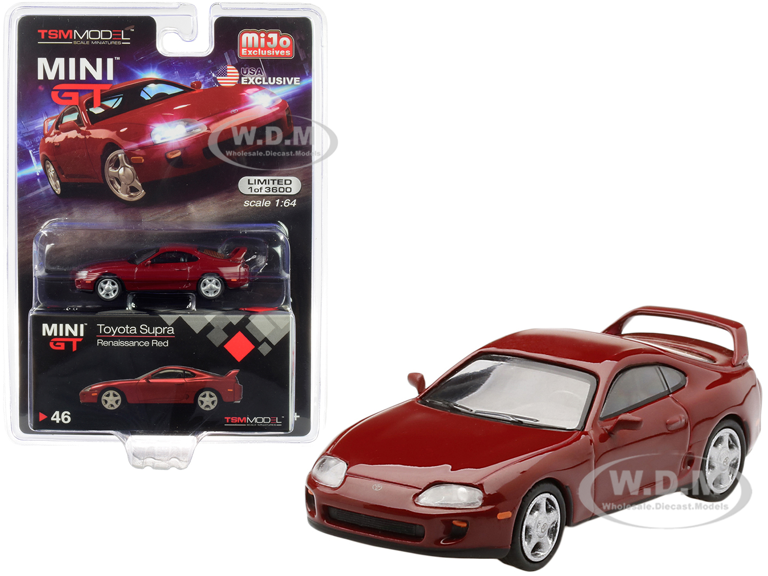 Toyota Supra (JZA80) LHD (Left Hand Drive) Renaissance Red Limited Edition to 3600 pieces Worldwide 1/64 Diecast Model Car by True Scale Miniatures