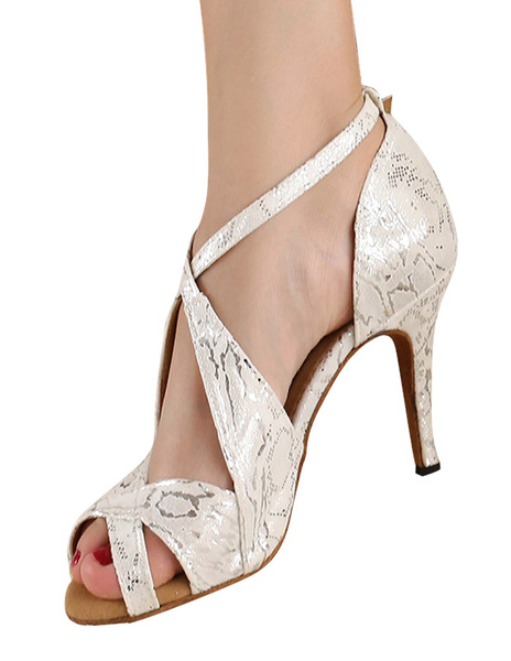 Milanoo Silver Peep Toe Metallic Criss-Cross Silk And Satin Stylish Latin Shoes