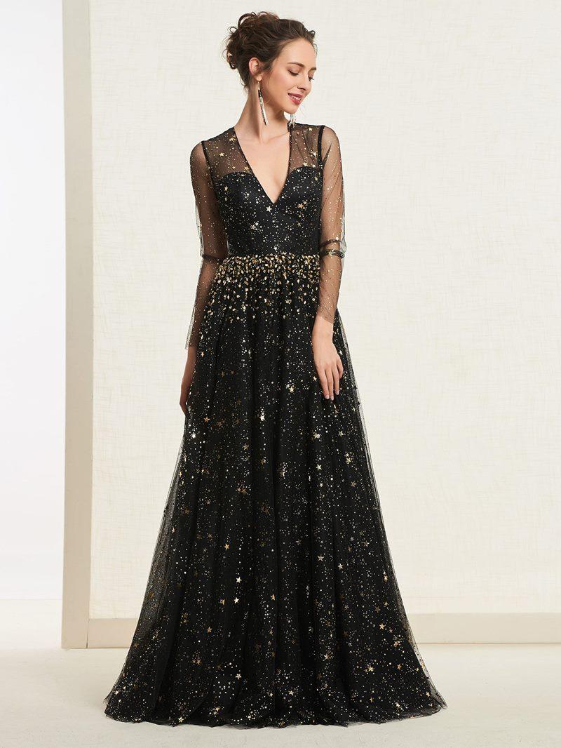 Ericdress Long Sleeves Sequins Beading Black Prom Dress