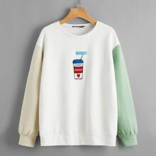 Letter and Cap Embroidered Drop Shoulder Pullover