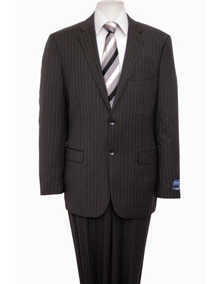 Men's Single Notch Lapel Wool Pinstripe Black Suit Flat Front Pant
