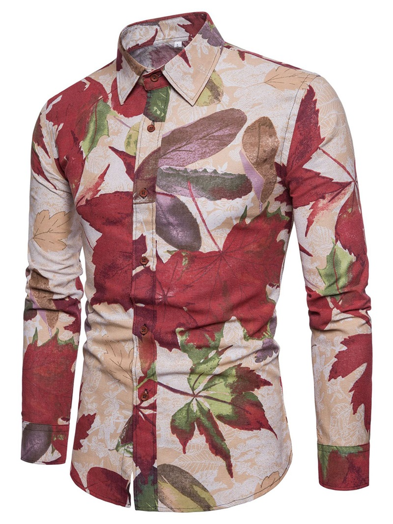 Ericdress Lapel Flower Color Block Mens Shirt