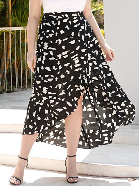 Yoins Plus Size Black Slit Design Floral Print Skirt