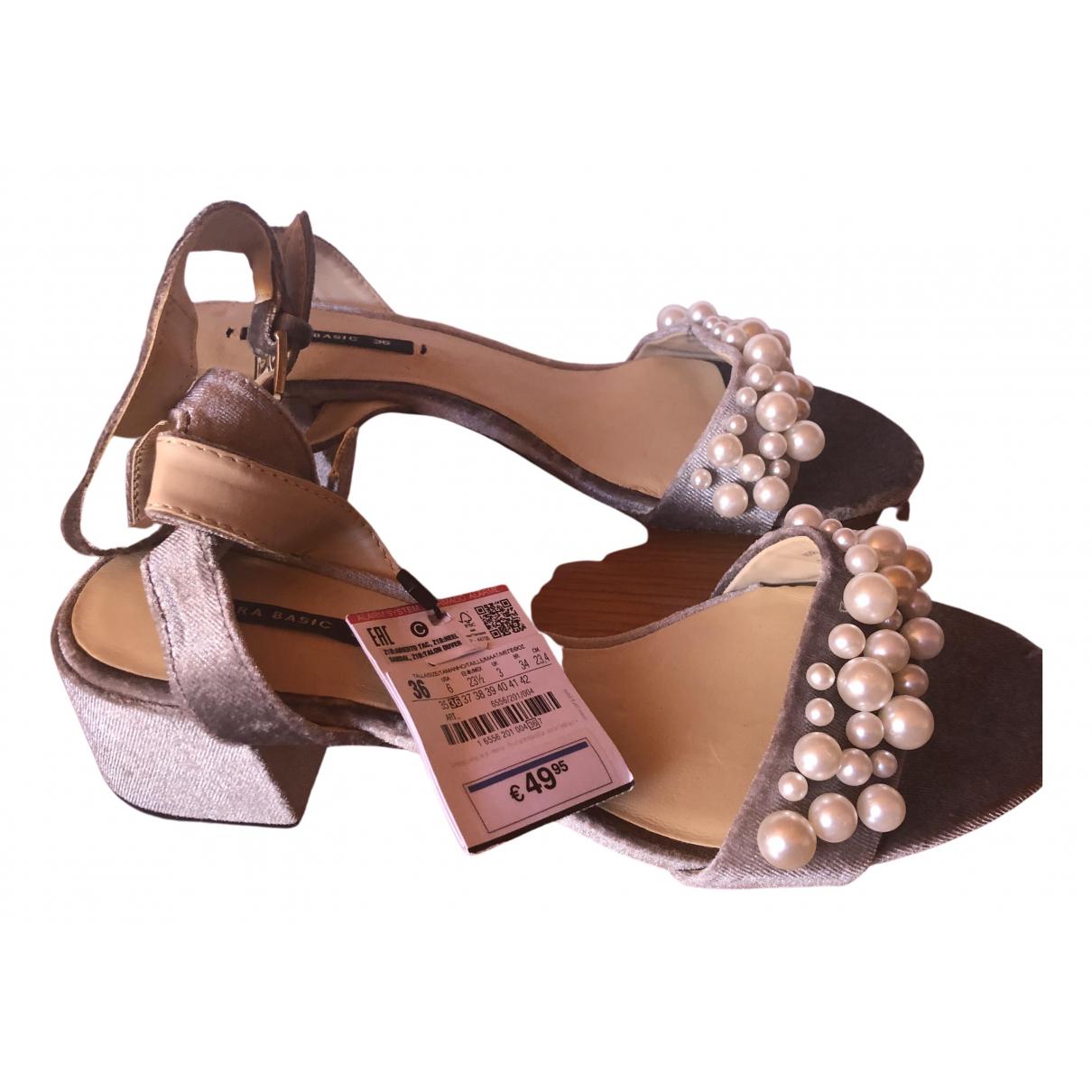 Zara \N Grey Velvet Sandals for Women 36 EU