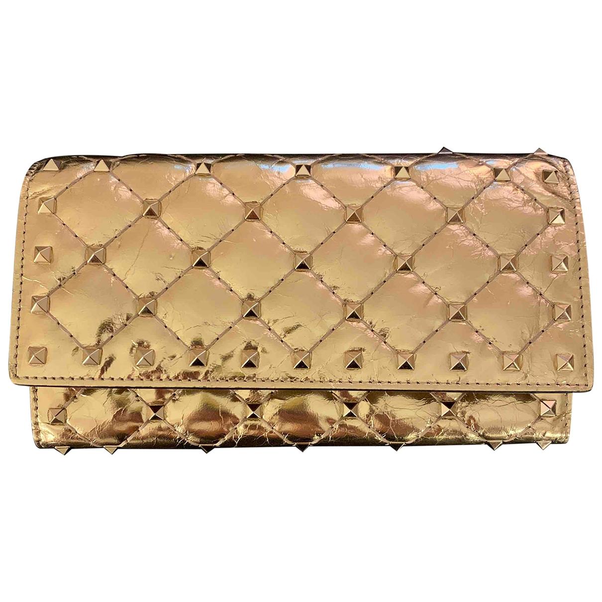 Valentino Garavani - Portefeuille   pour femme en cuir verni - dore