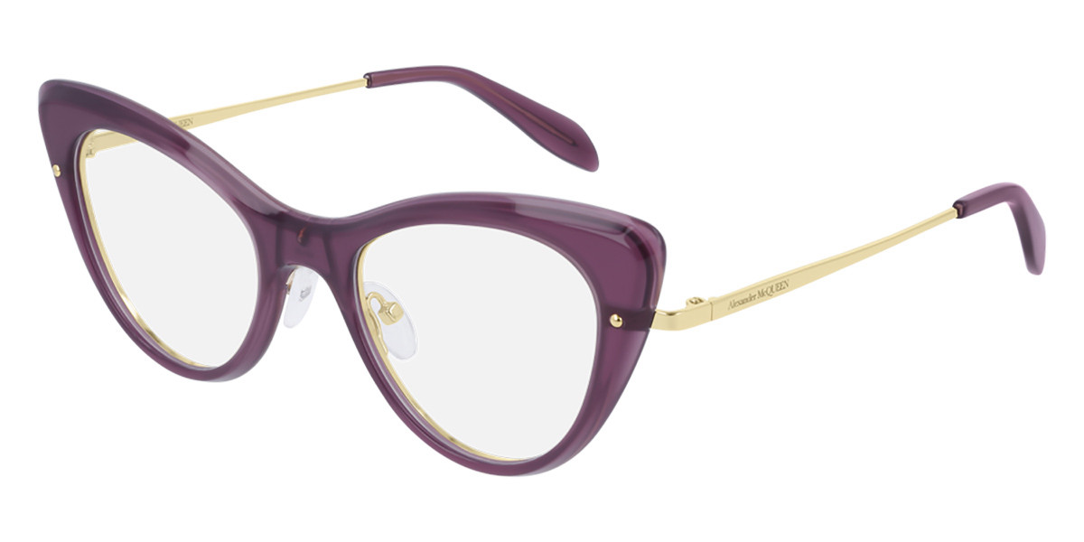 Alexander McQueen AM0236O 004 Women's Glasses Violet Size 48 - Free Lenses - HSA/FSA Insurance - Blue Light Block Available
