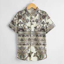Hemd mit Paisley & Stamm Muster