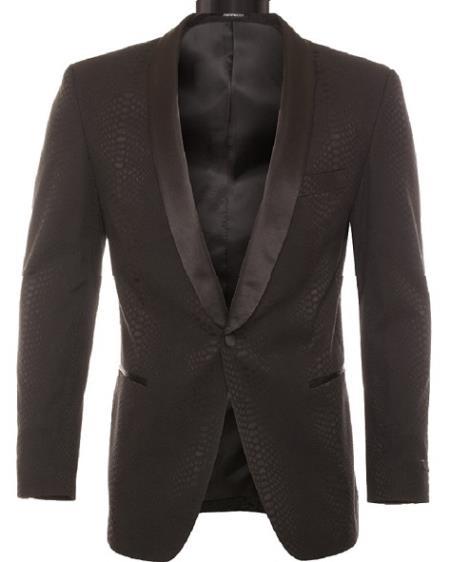 Men's Modern Fit Black Tonel Snake Pattern Dinner Jacket & Blazer