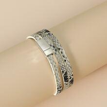 Mehrschichtiges Armband mit Schlangenleder Muster