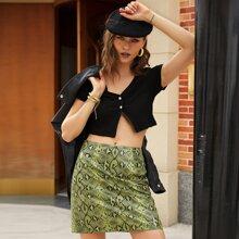 Zip Back Snakeskin Print Mini Skirt